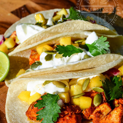 Yucatecan Fish Tacos with Green Peach Salsa