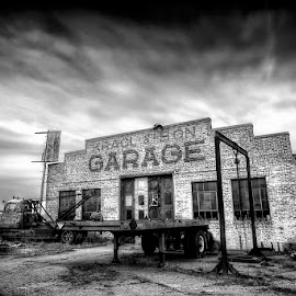 The Good Ole Days by Ken Smith - Buildings & Architecture Decaying & Abandoned ( black and white, garage )