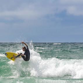 Surfing by Denis Sinoussi - Sports & Fitness Surfing ( skyline, waves, beach, board, surf )