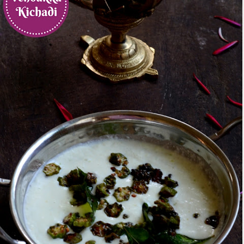 Vendakka Kichadi ~ Fried Okra in a Coconut Yogurt Sauce