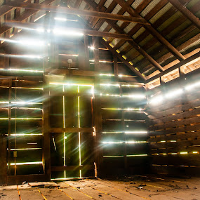 Sunbeams through the Planks by Kevin Beasley - Buildings & Architecture Decaying & Abandoned ( slats, farmhouse, sunbeams, barn, light, farm, planks )