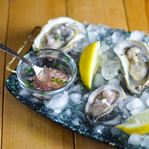 Oysters on the Half Shell with Rosé Migonette