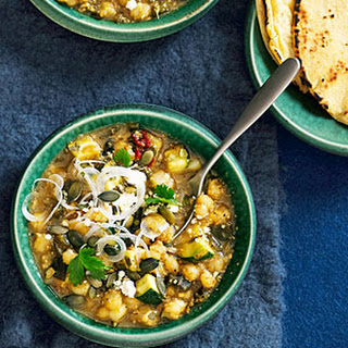 Creamy Pumpkin Seed and Green Chile Posole