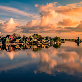 Mornings in Zaanse Schans by Georgios Kossieris - City,  Street & Park  Vistas ( clouds, reflection, holland, morning, landscape, windmills, windmill, netherlands )