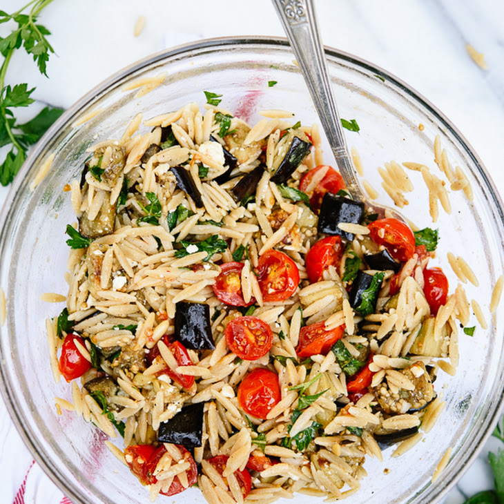 Roasted Eggplant and Tomato Orzo Pasta Recipe | Yummly