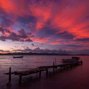 red by Enver Karanfil - Landscapes Sunsets & Sunrises ( red, shadows, boats, clouds, sea )