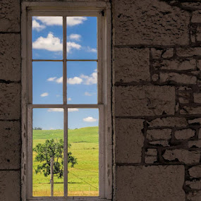 Tallgrass Pairie Kansas by Jack Powers - Landscapes Prairies, Meadows & Fields ( sky, tree, window, barn, pairie, meadow, scenic )