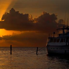 Sunrise in Cancun by Cristobal Garciaferro Rubio - Landscapes Travel ( water, cancun, shore, sea, playa las perlas, sunrise, boat )