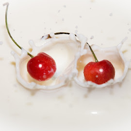 by Amol Patil - Abstract Water Drops & Splashes ( cherry splash )