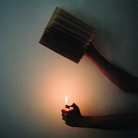 Let it burn by Faye Valentine - Artistic Objects Other Objects ( books, reading, diary, medium format, art, fine art, burning a book, lighter, fire, dyslexic, dyslexia, artistic, book, dark, read, burn, english, darkness, feelings )