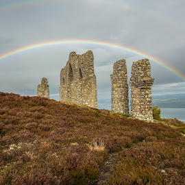 Fyrish Monument with Rainbow. by Peter Bartlett - Buildings & Architecture Statues & Monuments ( alness, fyrish, monument, scottish highlands., rainbow )