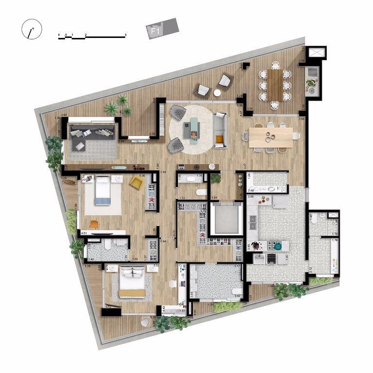 Apto Tipo Opção Final 1 - 224 m²