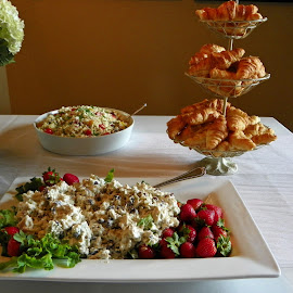 Salads by Sandy Stevens Krassinger - Food & Drink Plated Food ( chicken salad, food, plated food, table, rice salad, croissants, salads )