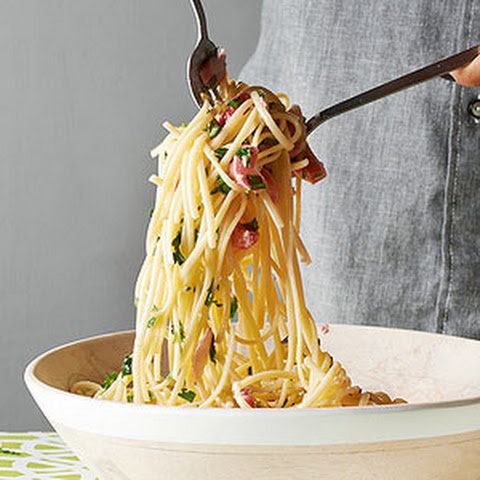 Linguini with Garlic, Pepper, and Rhubarb