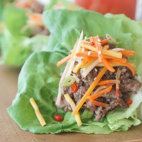 Healthy Hibachi Pork Lettuce Wraps with Carrot Daikon Quick Pickle