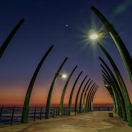 Pier design by Peter Schoeman - Buildings & Architecture Other Exteriors ( orange, sky, blue, pier, ocean, sunrise, light )