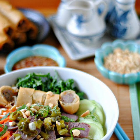 Vermicelli Noodles with Grilled Lamb & Egg Rolls