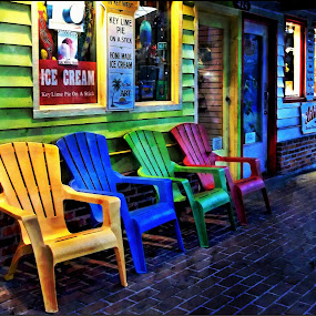 A Scene from Margaritaville by Nancy Sadowski - Digital Art Places ( chairs, colorful, happy, street, key west )