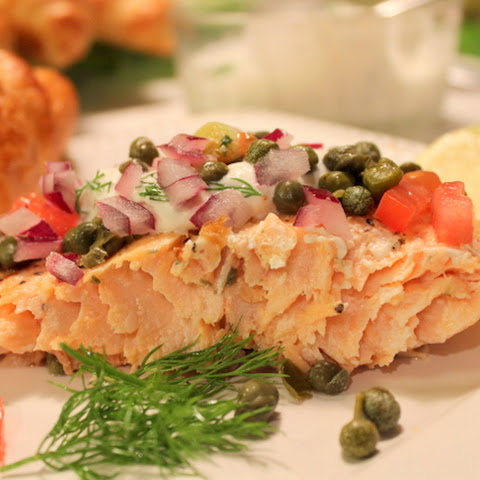 ROASTED SALMON WITH LEMON DILL SAUCE