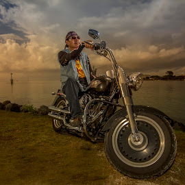 The Outlaws by Ade Irgha - People Portraits of Men ( clouds, harley davidson, rider, indonesia, explorebali )