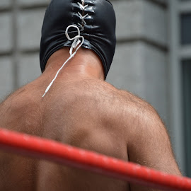Laced Up by Thomas Shaw - People Musicians & Entertainers ( bear, mask, back, schwanz, shirtless, wrestling ring, the works, raleigh, pro wrestling, otto, gouge pro wrestling, masked, north carolina, wrestler, hairy, laces, rope, gouge wrestling, otto schwanz, hairy back, man )