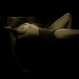 PEACEFUL by Kathryn Bisley - Nudes & Boudoir Artistic Nude ( boudoir photography, portraits of women, black and white, female, portraits, people, women )