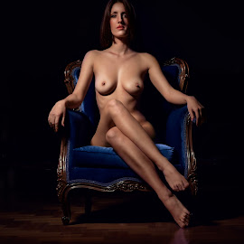 The Chair by Panagiotis Assonitis - Nudes & Boudoir Artistic Nude ( breast, face, chair, nude, naked, woman, legs, eyes )