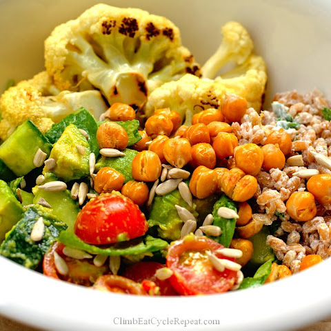 Roasted Cauliflower and Chickpea Salad with Tahini Farro