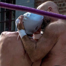 Wrestler Love by Thomas Shaw - Sports & Fitness Other Sports ( bear, ring, kissing, wrestling, mask, shirtless, pro wrestling, wrestler, hairy, professional wrestling, beard, ropes, men, wrestling mask, man )