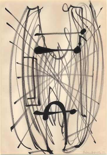 <b>Hepworth</b> also considered drawing to be a parallel practice. Although related to the later sculpture, <b>'Winged Figure'</b> (1957), it captures the spirit and energy of a first thought, rather than being a two-dimensional blueprint of a three dimensional-work.