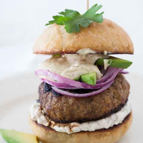 Summer Burger with Avocado, Red Onion, Horseradish Sour Cream Sauce & Dijon Mustard Mayonnaise