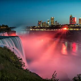 Niagara Falls by Kai Buddensiek - Travel Locations Landmarks ( water, pwclandmarks, niagara falls, waterfall, night, 17-55, usa )