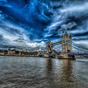 The Tower by Matt Cooper - City,  Street & Park  Vistas ( water, thames, london, blue, bridge, river )