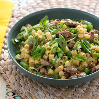 Lamb & Risotto-Style Ditalini Pasta with Spring Onion & Green Beans