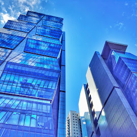 Bluescrapers by Deep Banerjee - Buildings & Architecture Office Buildings & Hotels ( blue sky, skyscraper, blue, buildings, camouflage )