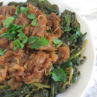 Garlicky Greens with Caramelized Onions