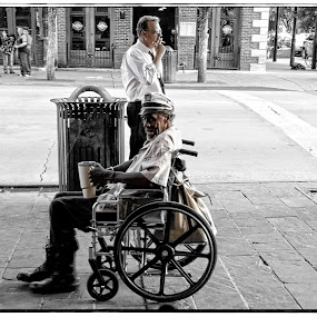Change or A Smoke by Alice Gipson - People Street & Candids ( street candid, man in wheelchair, austin men, alicegipsonphotographs, men, man )