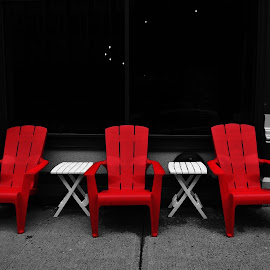 Three Red Chairs by Gary Ambessi - City,  Street & Park  Street Scenes