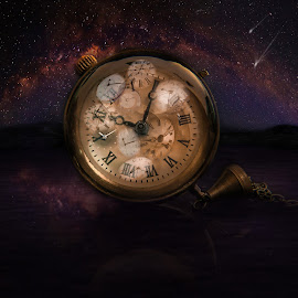 Time by John Georgiou - Digital Art Things ( idea, tiking, still life, reflections, space, imagination, creativity, science, fantasy, time, mountains, old pocket watch, future, glass, timing, watches, water, milkyway, falling star, clock, vintage, past, close up, clocks, reflecting, nightscape, present, time travel, albert einstein, galaxy )