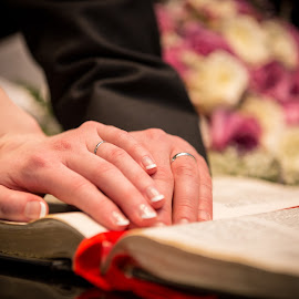 Hands On by Sarah Scully - Wedding Details ( hands, wedding, rings, wedding rings, bride and groom, bible )