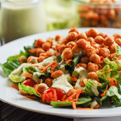 Quick & Easy Buffalo Chickpea Salad with Avocado Ranch Dressing (GF)