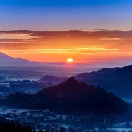 Sunrise by Péter Mocsonoky - Landscapes Mountains & Hills ( hill, orange, mountain, nature, blue, slovenia, sunrise, julian alps, triglav )