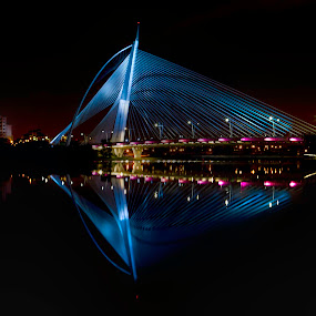 by Danial Abdullah - Buildings & Architecture Bridges & Suspended Structures ( reflection, seri, putrajaya, night, bridge, lakeside, architecture, design, wawasan )
