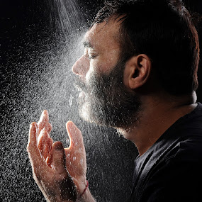 Spray by Vineet Johri - People Portraits of Men ( water, face, vkumar, spray, hands, drops, myself, self portrait, eyes closed, , Emotion, portrait, human, people, Hope, Selfie, self shot )