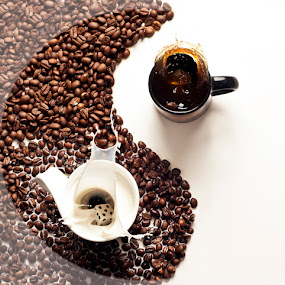 Yin Yang by Ivan Vukelic - Food & Drink Ingredients ( cup, splash, ivo, vukelic, beans, milk, coffee, white, dices, vuk, black )