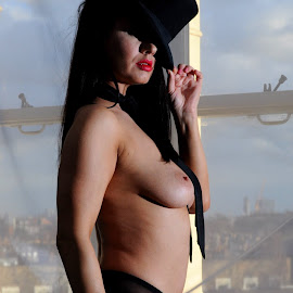by DJ Cockburn - Nudes & Boudoir Artistic Nude ( grayscale, model, topless, dark hair, home shoot, off-camera flash, net curtain, three quarter, jess harrington, portrait, caucasian )