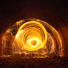 Light Painting in Abadoned Factory by Marcin  Grzanka  - Abstract Light Painting ( abstract, light painting, creative, industrial, steel wool, bricks, factory, abadoned, fire )