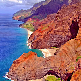Na Pali Coast by Clyde Smith - Landscapes Beaches ( kauai, tropical, napali coast, ocean, beach, hawaii, island )