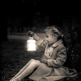 A little magic by Nicola Morrison - Babies & Children Child Portraits ( magic, glowing, vintage, fairytale, black and white, lantern, portraiture )