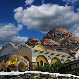 Moschee  by Razvan Ice - Buildings & Architecture Statues & Monuments ( beautiful mosques, building, greek mosque, arhitecture, sky, blue sky, blue, greek, white )